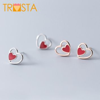 Trusta 100% 925 Real Sterling Silver Fashion Jewelry 8mmX9mm Heart Stud Earring For Teens Best Friend Daughter Party XY1045