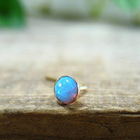 Nose and Tragus Stud Blue Opal 4mm Gold Filled