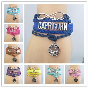 1pc Infinity 12 Constellation Bracelet Aries Taurus Gemini Cancer Leo Virgo Etc Zodiac Sign Bracelets & Bangles Gift