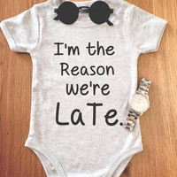 I'm the reason we late, onies baby suit newborn baby | unisex | baby styling Baby Shower Gift