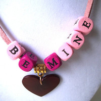 Valentine BE MINE Pink Block Letters Necklace with Tagua Nut Heart Pendant, Vegetable Ivory, Eco-Friendly, Vegan