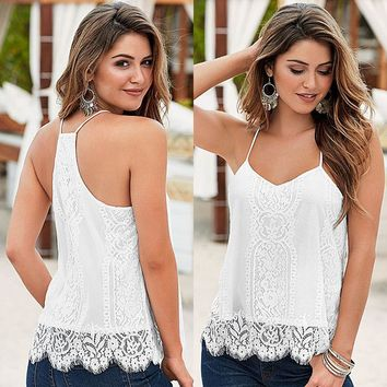 Women's Clothing White Tops & Tees Tanks Camis Fashion Summer Tops Sleeveless Hollow Out  Lace Tank Tops Camis For Women
