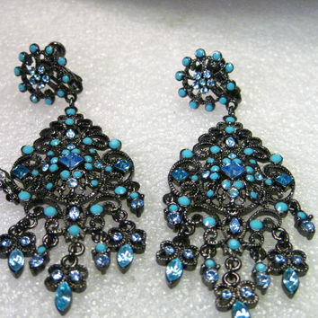 "Vintage Joan Rivers Turquoise & Sapphire Colored Black Metal Chandelier Screw Back Earrings, Black Metal, RARE, 3.5"" Long - RUNWAY STYLE"