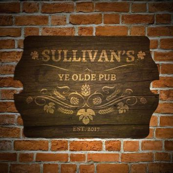 Ye Olde Pub Personalized Bar Sign