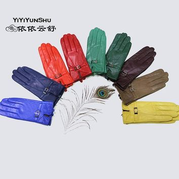 Women Genuine Sheepskin Leather Gloves With Soft Fur Lining