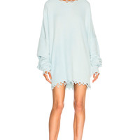 Unravel Distressed Knit Dress in Misty Blue | FWRD