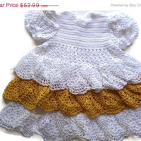 Special Birthday Sale Baby girl Crochet Lace Dress Newborn Preemie Reborn doll Handmade White and Yellow dress