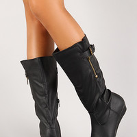 Leatherette Buckle Knee High Wedge Boot