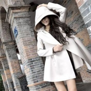 Wholesale New Arrival Hooded Long Sleeve Pleated Coat Light Apricot