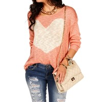 Pink Heart Knit Sweater