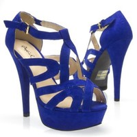 Qupid Women's CHANCE02 Strappy Open Toe Ankle Strap Platform High Heel Stiletto Pump Sandal Shoes, Cobalt Blue Faux Suede, 8.5 B (M) US