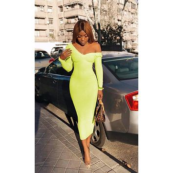 On The Radio Long Sleeve Ribbed V Neck Bodycon Midi Dress - 3 Colors Available