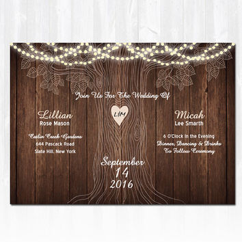 Strings Lights & Rustic Tree Wedding Invitation DIY PRINTABLE Digital File or Print (extra) Wood Wedding Invitation String Lights Wedding