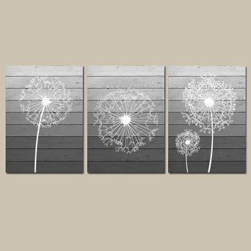 DANDELION Wall Art, Canvas or Prints OMBRE Wood Effect Gray Bathroom Artwork, Bedroom Pictures Flower Wall Art, Dandelion Set of 3