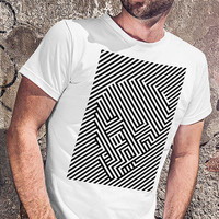 Cool men tshirt with optical illusion, skull t shirt,  graphic designer, white T-shirt with the inscription, print