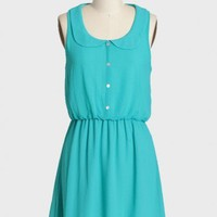 edenderry collared dress in turquoise at ShopRuche.com