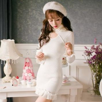 Winter Dress Women Princess sweet lolita dresses Candy Rain Sexy Bodycon white dress female Knitted sweaters femme girls gifts