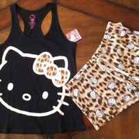 NWT Womens HELLO KITTY Animal Print Boxers Sleep Shorts & Tank Top Pajama Set