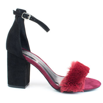 Susie37 Burgundy by Wild Diva, Black Burgundy retro block heel w faux fur toe trimming ankle strap