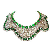 One-of-a-Kind Signed Robert Sorrell Green & Clear Crystal Necklace