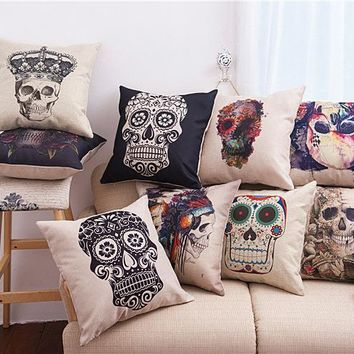 45x45cm/17.7x17.7'' Angel Crown Skull Printed Linen Cotton Decorative Chair Sofa Cushion Cover Home Hotel Wedding Pillow Cover