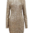 Gold Sequined Backless Mini Bodycon Dress