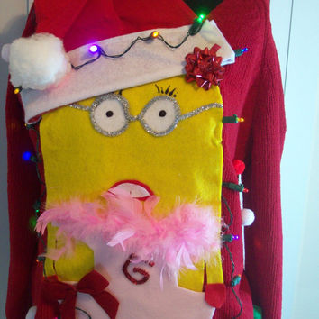 """Small Lite UP Ugly Christmas Sweater  Women  Fun Minions Holiday Sweater """" with lights Never before seen"""