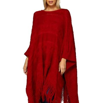 Chunky Cable Knit Poncho, Cranberry