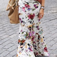 White Floral Print Mid-Calf Skirt