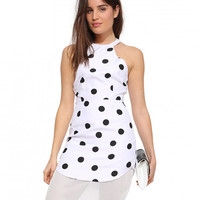 White Polka Dot Halter Backless with Mesh Trim Dress
