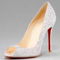 Christian Louboutin Crystal Encrusted Suede Pump - $198.00
