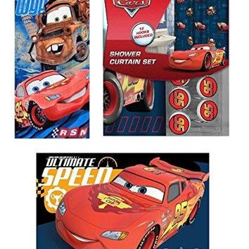 15pc Disney Cars Shower Curtain Bath Towel Foam Mat Hooks Set