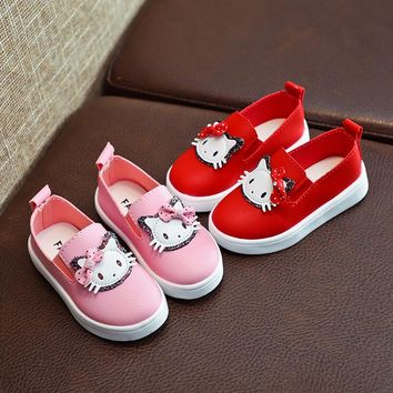 Spring autumn Children girls Pu shoes Girls  Shoes Flat casual Shoes bling with Hello kitty 21-30 pink red  TX05