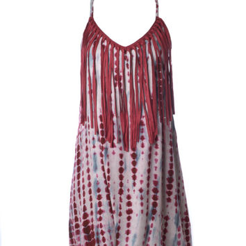 Judith March Tie Dye Dress With Fringe Detail (Crimson/Grey)
