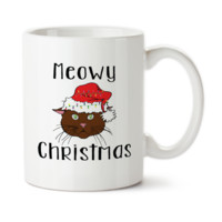 Meowy Christmas 002, Cute Mug, Cat, Cup, Funny Cat Cup, Coffee Mug, 15oz, Ceramic Cup,