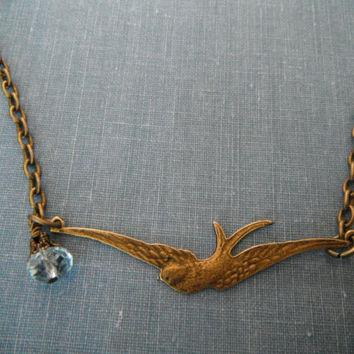 Blue Aqua Vintage Brass Swallow Necklace Sparrow by SycamoreSticks