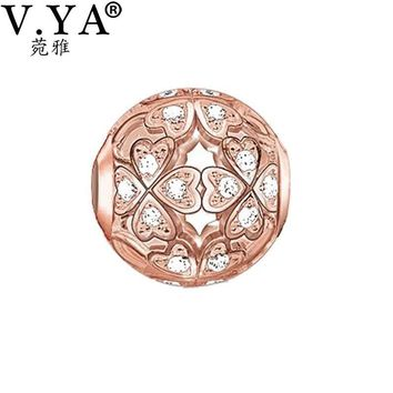 Rose Gold Color Beads fit for Pandora Bracelet Necklace Chain Luxury Zircon Bead Charms for Women Men Jewelry DZ1930