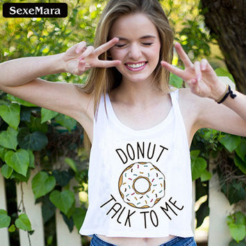 """SexeMara """"DONUT TALK TO ME"""" Letters Crop Tops Fitness Women Sleeveless White Tank Top Sexy Kawaii  Cropped Sexy Vest F1768"""