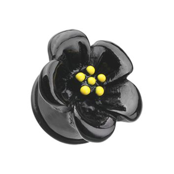 Black Adorable Hibiscus Flower Single Flared Ear Gauge Plug Body Jewelry