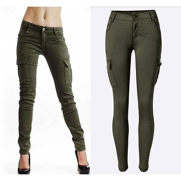 2017 New Styles Mid Waist Elasticity Women Stretch Pencil Jeans Fashion Double Side Pockets Army Green Color Skinny Femme Jeans