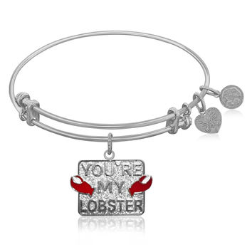 Expandable Bangle in White Tone Brass with You're My Lobster Symbol