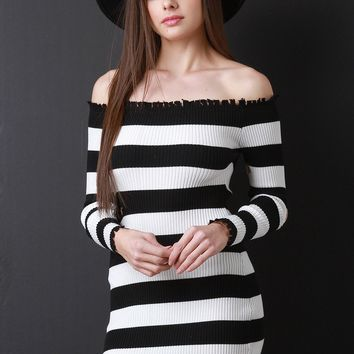 Distressed Striped Ribbed Knit Bardot Bodycon Dress