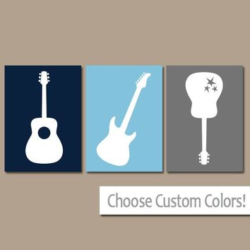 GUITAR Wall Art, Music Theme Nursery Decor, Boy Bedroom Pictures, CANVAS or Prints Music Art Rock N Roll, Rock and Roll Set of 3 Wall Decor