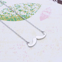 Silver Tiny  Mustache  necklace