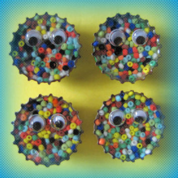 Upcycled Bottle Cap Magnets Googly Eyes Rainbow Seed Beads Resin Handmade Recycled Reclaimed Repurposed Eco Friendly Ceramic Magnet