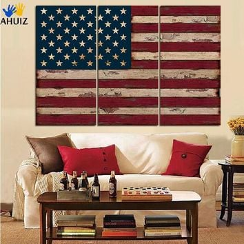 United States of America Flag Wall Art on Canvas - 3 Panels
