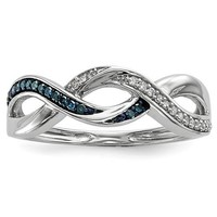 Sterling Silver Blue And White Diamond Infinity Ring