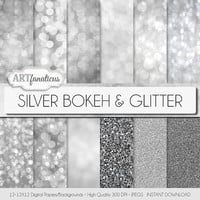 "Silver bokeh paper ""SILVER BOKEH & GLITTER"" bokeh overlay, silver bokeh, digital backgrounds, glitter, bokeh for photographers, scrapbooking"