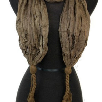 BROWN WRINKLED BASIC DOUBLE KNOTTED ENDS SCARF