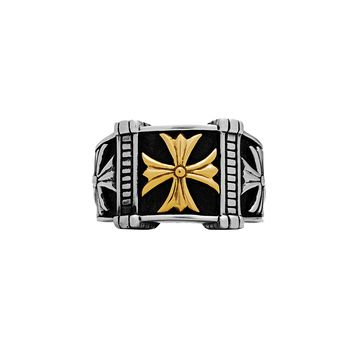 Triple Cross Ring in 925 Sterling Silver and 18k Gold